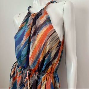 Rachel Roy Silk Sleeveless Sheer Overlay Dress